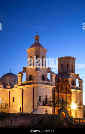 San Xavier del Bac Mission (founded 1700, current structure 1797) at twilight, Tucson, Arizona USA - Stock Image