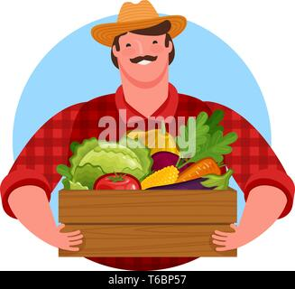 Happy farmer holding wooden box full of fresh vegetables. Healthy food, vector illustration - Stock Image