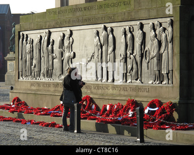 Liverpool Cenotaph, St George's Hall, Liverpool. A couple view the Remembrance Day Poppy Wreaths - Stock Image