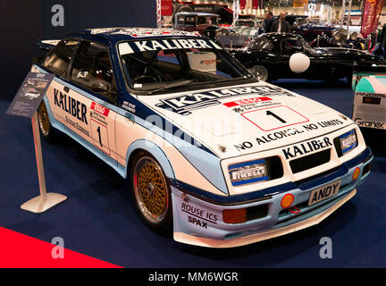 A 1989  Ford Sierra RS500  Cosworth, driven by Andy Rouse  and Guy Edwards, on display at the 2018 London Classic Car Show - Stock Image