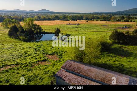 A drone image of a farm taken in Scott County, Arkansas, USA - Stock Image