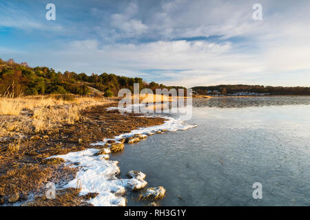 View of seacoast in winter - Stock Image