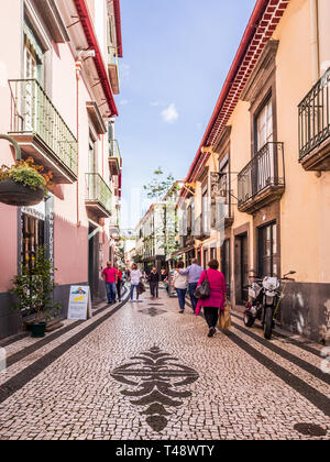 Madeira, Portugal - October 31, 2018: Street in the historical part of Funchal, the capital of Madeira, Portugal. - Stock Image