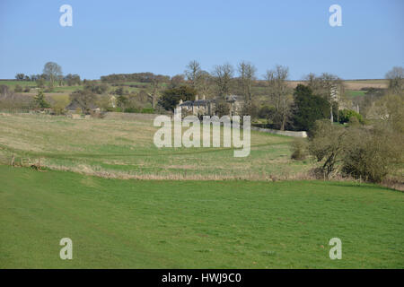 Windrush valley as seen from the former hamlet of Widford looking towards the Cotswold village of Swinbrook near - Stock Image