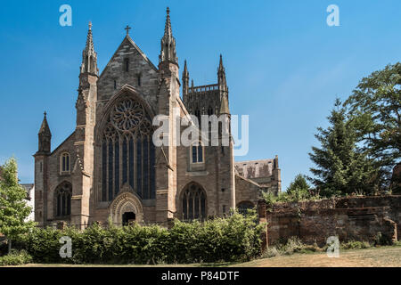 West facing gothic facade of Worcester cathedral, Worcestershire, West Midlands UK - Stock Image