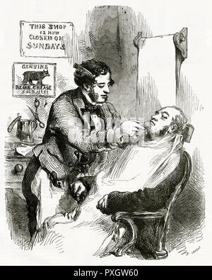 Barber giving a wet shave, with a sign on the wall saying 'This shop now closed on Sunday.'     Date: 1855 - Stock Image