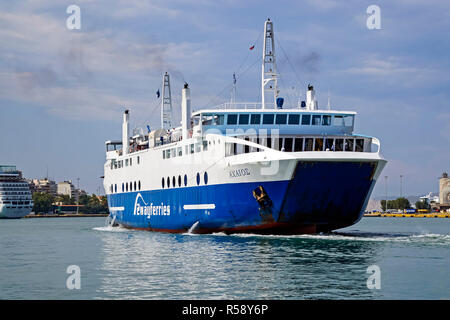2wayferries ferry in port of Piraeus Athens Greece Europe - Stock Image