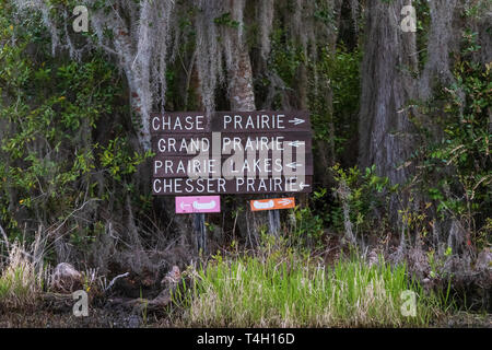 Okefenokee Swamp, Folkston, GA, USA-3/29/19:  Directional signs in the swamp, to guide boats. - Stock Image