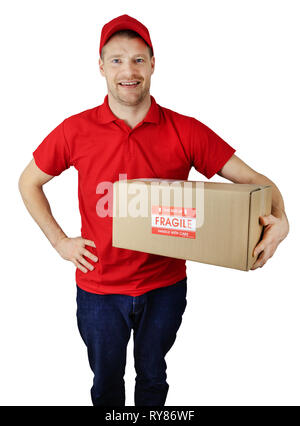 delivery service courier in red uniform with fragile shipment box isolated on white - Stock Image