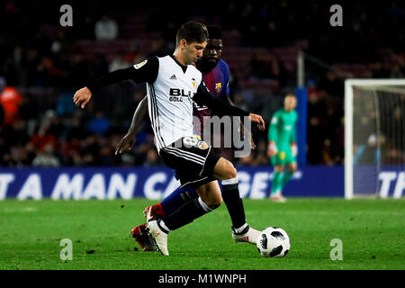 Camp Nou, Barcelona, Spain. 01st February, 2018. The semifinals of La Copa de S.M. el Rey 17/18 on the match between - Stock Image