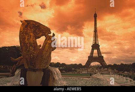 France Paris Eiffel tower sepia horse sculture  - Stock Image