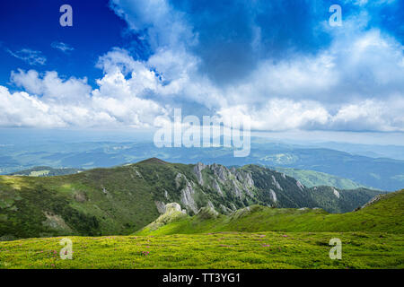 Beautiful landscape of Carpathian mountains in Romania - Stock Image