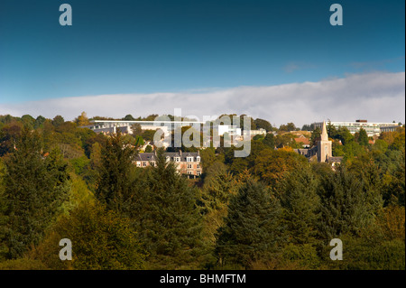 image of cults academy and parish church from south deeside - Stock Image