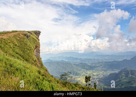 Beautiful landscape sky and high stone cape of mountain on view point as a symbol of Phu Chi Fa National Forest - Stock Image