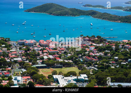 U.S. Virgin Islands, St. Thomas. Elevated town view of Charlotte Amalie - Stock Image