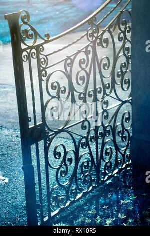 Open Driveway Gate - Stock Image