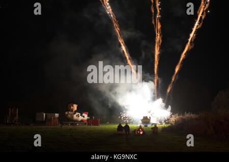 Lewes, UK 4th Nov. 2017 Bonfire night / Guy Fawkes Night in the East Sussex town of Lewes. Kim Jong-Un's effigy - Stock Image