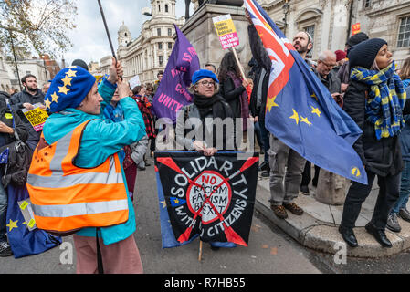 London, UK. 9th Dec, 2018. A small group of remainers at the rally by united anti-fascists in opposition to Tommy Robinson's fascist pro-Brexit march. The march included both remain and leave supporting anti-fascists and marched from the BBC to to to a rally at Downing St. Police had issued conditions on both events designed to keep the two groups well apart. Credit: Peter Marshall/Alamy Live News - Stock Image