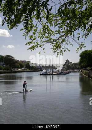 The Kingsbridge Estuary, looking south, with Paddle Boarder and Moored Sailing Boats, Kingsbridge, Devon, England, - Stock Image