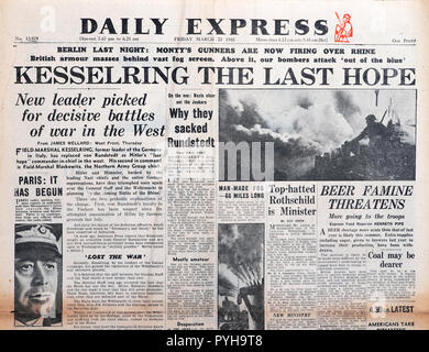 'Kesserling The Last Hope'  Second World War WWII front page headline in Daily Express newspaper article on March 23 1945 London England UK - Stock Image