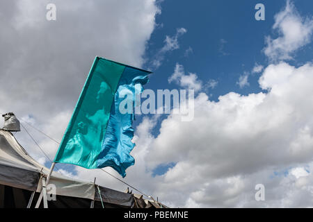Poole, UK. 28th July 2018. Very windy weather at the Poole Harbour Festival in very windy weather. Credit: Thomas Faull/Alamy Live News - Stock Image