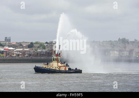 A fire boat on the River Mersey Liverpool UK - Stock Image
