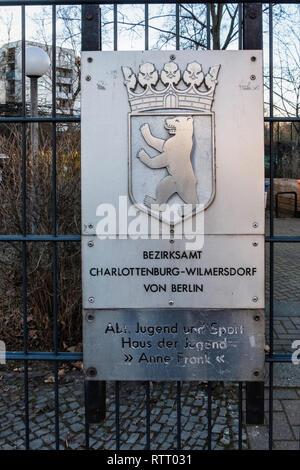 Berlin Wilmersdorf. Anne Frank Youth Centre.Leisure Centre, meeting place & place of political education & debate - Stock Image