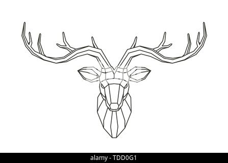 Geometric deer head. Abstract animal. Low poly line art vector illustration - Stock Image