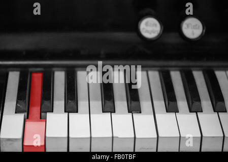 Closeup of old organ keyboard - Stock Image