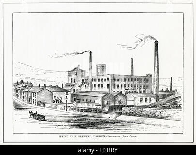 The Spring Vale Brewery, Darwen, 1890 engraving of the Lancashire brewery of John Crook, founded by his brother - Stock Image