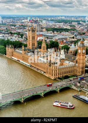 Aerial View Parliament Buildings and Westminster Bridge London UK - Stock Image