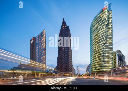 Potsdamer Platz,  Berlin , Kollhoff-Tower, Sony Center, DB Tower , Beisheim Center, S Bahn Entrance, Berlin Center, - Stock Image