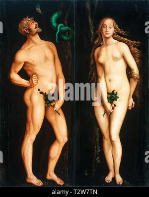 Hans Baldung, Adam and Eve, portrait painting, c. 1525 - Stock Image