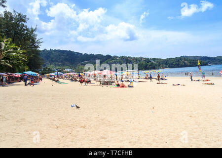 Phuket, Thailand - 23rd February 2017:  Patong beach on a sunny day. This is Phukets most popular beach - Stock Image