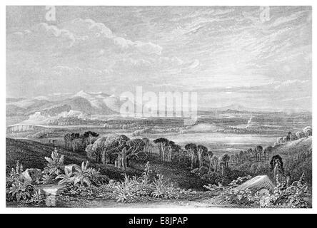Field of Bannockburn Allt a' Bhonnaich from the Gillie's Hill circa 1840 - Stock Image
