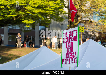 A pro-cannabis sign at the 420 festival in Vancouver, BC. - Stock Image