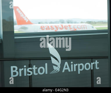 An easyJet airplane at Bristol Airport in Britain - Stock Image