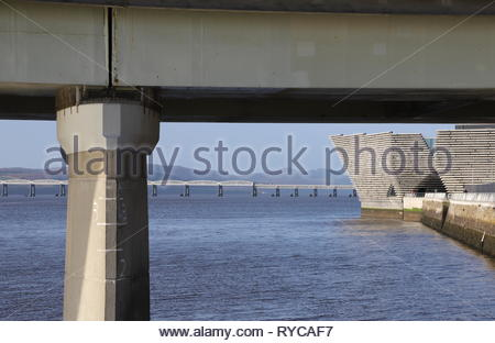 Tay Road Bridge and  Tay Rail Bridge Dundee Scotland  March 2019 - Stock Image