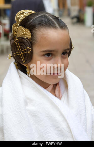 Girl in traditional local Spanish costume from Valencia - Stock Image