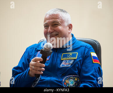 Expedition 51 Soyuz Commander Fyodor Yurchikhin of Roscosmos reacts after answering a question during a pre-launch - Stock Image