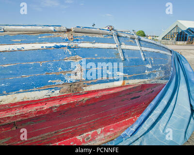 Old Blue Wooden Boat Barrow in Furness - Stock Image