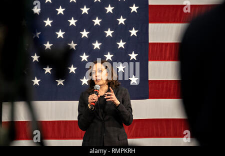 North Charleston, United States. 15th Feb, 2019. Senator Kamala Harris address a town hall meeting during her campaign for the Democratic nomination for president February 15, 2019 in North Charleston, South Carolina. South Carolina is the first southern democratic primary for the presidential race. Credit: Planetpix/Alamy Live News - Stock Image