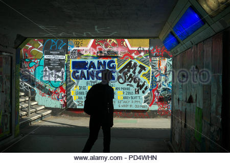 Pedestrian subway from The Bearpit, area at the St.James Barton Roundabout in Bristol. Area is covered in graffiti, street art, and venue posters. UK. - Stock Image
