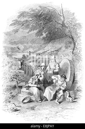 A Water wheel in the neighbourhood of Sheffield circa 1880 - Stock Image