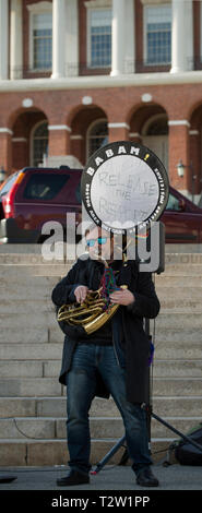 Boston, MA, USA April 4th 2019.  Over 500 demonstrators gathered on the Boston Common, across the street from the Massachusetts State House in central Boston to demand the release of the Mueller investigation into Current U.S. President Donald Trump.  Protests demanding the full release of the Mueller investigation into Russian involvement in the 2016 American presidential election and Trump's alleged obstruction of justice took place in cities across America on April 4th 2019. Credit: Chuck Nacke / Alamy Live News - Stock Image