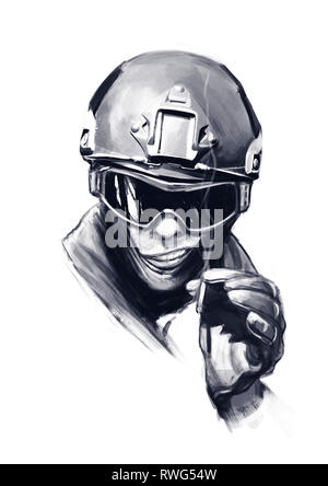 Funny hand drawn cartoon illustration of a spec ops police officer SWAT with cigarette, isolated on white background. - Stock Image