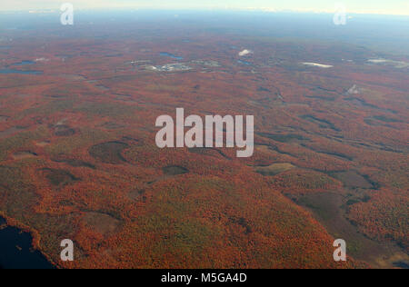 Aerial of Fall tree colors upstate New York - Stock Image