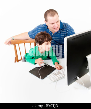 father and children with desktop computer isolated on white - Stock Image