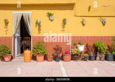 Traditional Spanish wall with lots of flower pots. - Stock Image