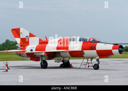 Croatian Air Force MiG-21 UMD Red-White checkerboard painted two-seat trainer - Stock Image